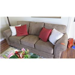 "Brown Microsuede Sofa, Seat Surface Length 87"" (accent pillows not included)"