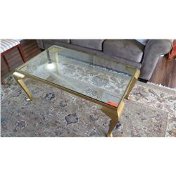 """Glass Coffee Table with Gilt Base, Cabriolet Legs 45"""" X 27"""" X 19""""H"""