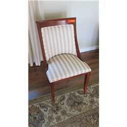 """Striped Upholstered Wooden Chair, 20.5"""" Across, 35"""" H"""