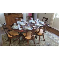Sheraton Style Oval Dining Room Table (69x44.5) and 6 Chairs, Linen/Silk Padded Seats