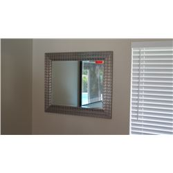 """Contemporary Brushed Metal Framed Mirror 35.5"""" X 29.5"""""""