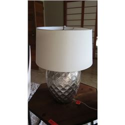 Silver Urn Table Lamp with Damask-Like Relief Design