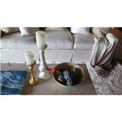 Accent Decor Items: Two Candle Holders & Wood Bowl w/ Wicker Balls