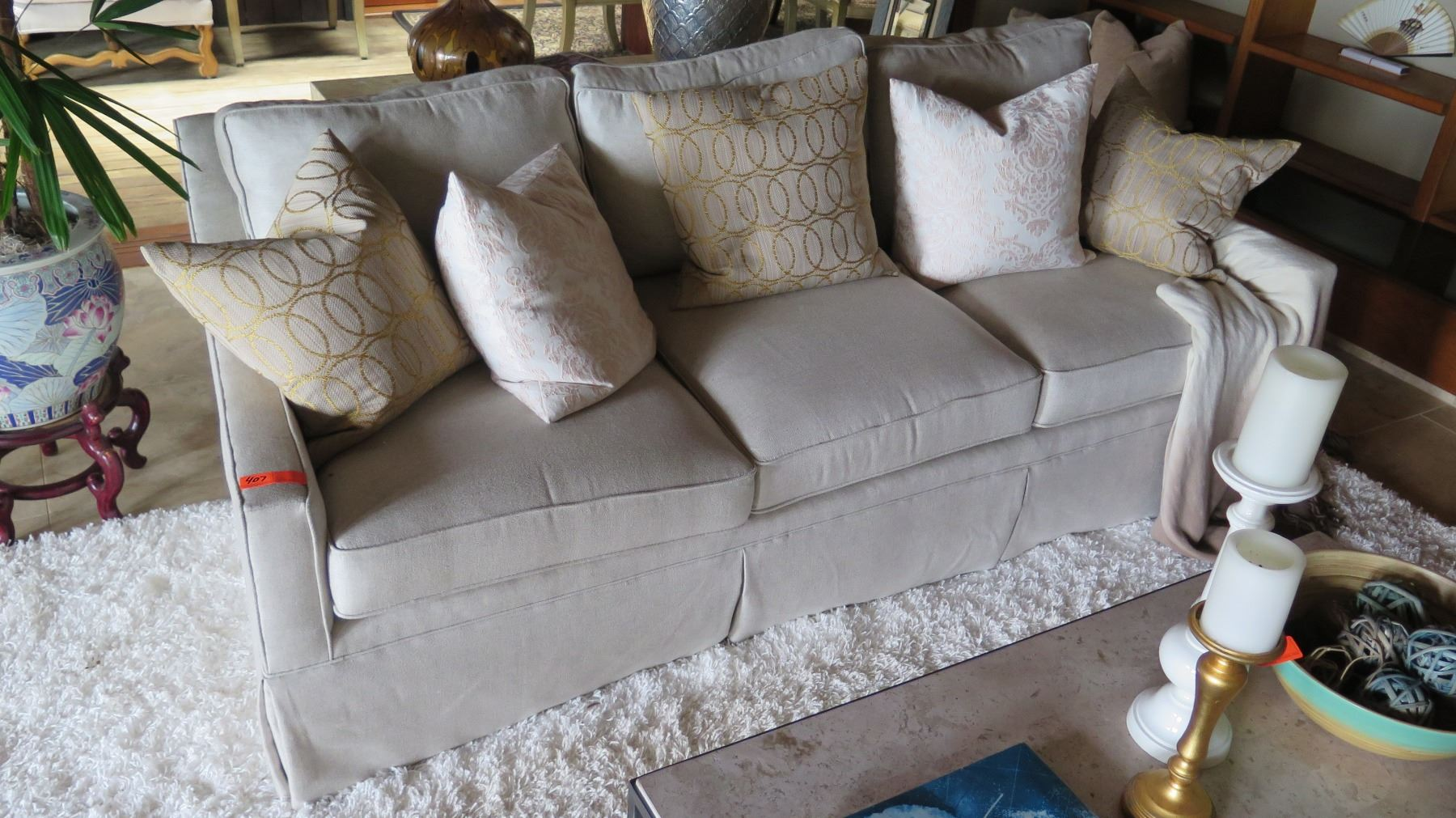 Image 1 : Lt. Beige Sofa (accent Pillows Not Included) ...