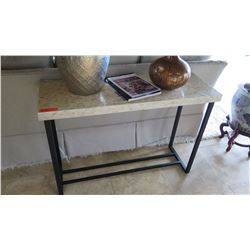 """Contemporary Shell Inlay Table with Black Metal Base, Approx. 43.5"""" X 15"""" X 30""""H"""