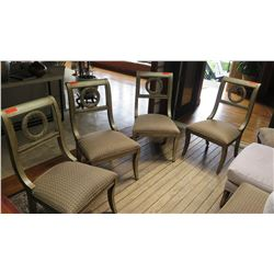 Set of 6 Wreath-Back Side Chairs with Gilt Wash, Upholstered Seats