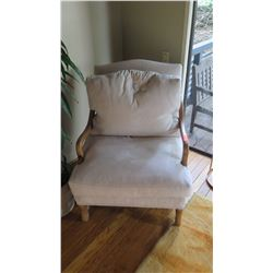 Plush Microsuede Arm Chair with Curving Wooden Frame