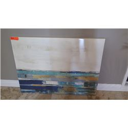 Abstract Stacked Blue/Yellow/White Painting, Stretched Glazed Canvas, 39.5X30