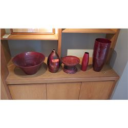 Accent Decor: 5pc Assorted Red Vases/Bowls