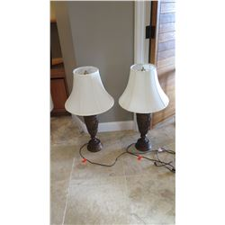 Pair: Bronze Colored Urn Table Lamps