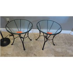 """Pair: Glass-Top Round Side Tables w/ Curving Black Metal Base & Legs, Approx. 20"""" Dia."""