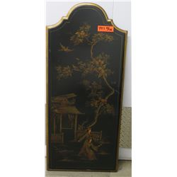 "Black Painted Lacquered Panel, Asian Motif, Wall-Mount 40"" X 18"""