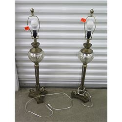 Pair of Table Lamps, Metal w/Mercury Glass Globe (no lamp shades)