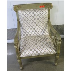 "Gilded Upholstered Chair w/Carved Scroll Details, 37"" H, 27"" W"