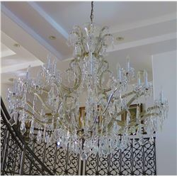 "Large Grand Crystal & Brass Chandelier w/Teardrop Pendants, Approx. 56"" H, 56"" Dia."