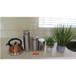"""Tea Kettle, Canisters, Faux Potted Plants (tallest canister 12"""")"""