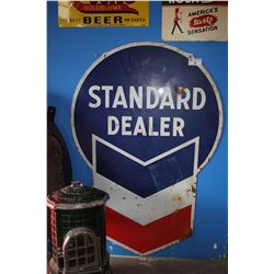 6' ENAMEL AND CAST IRON STANDARD DEALER CHEVRON SIGN