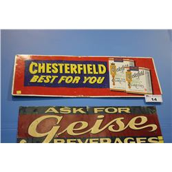 CHESTERFIELD BEST FOR YOU TIN CIGARETTE SIGN