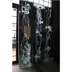 3 LIGHT-UP MIRROR PANELS, APPROX. 8' TALL