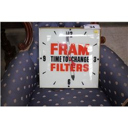 VINTAGE ADVERTISING CLOCK, FRAME TIME TO CHANGE FILTERS