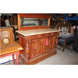 BEAUTIFULLY CARVED SOLID WALNUT VICTORIAN SIDEBOARD WITH BACKSPLASH MIRROR AND MARBLE TOP,