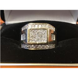 GENTS 14K YELLOW GOLD RING CONTAINING 52 DIAMONDS (2.4CTS DIAMONDS/18.6GMS GOLD)