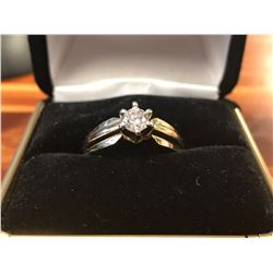 LADIES 14K WHITE & YELLOW GOLD DIAMOND SOLITAIRE RING (0.36CTS DIAMOND/4.9GMS GOLD)