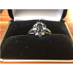 LADIES 9K WHITE & YELLOW GOLD RING CONTAINING 6 DIAMONDS & 7 SAPPHIRES (0.18CTS DIAMONDS/1.9GMS GOLD
