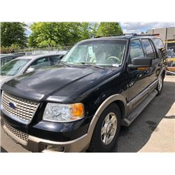 2004 FORD EXPEDITION, BLACK, 4 DOOR SUV, GAS, AUTOMATIC, VIN#1FMFU18L34LA64536, 291,878KMS,