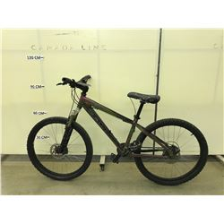 GREEN AND PURPLE KONA STUFF 16 SPEED FRONT SUSPENSION MOUNTAIN BIKE WITH FRONT AND REAR DISC BRAKES