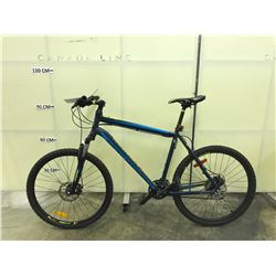 GREEN AND BLUE ROCKY MOUNTAIN EDGE 24 SPEED FRONT SUSPENSION MOUNTAIN BIKE WITH FRONT AND REAR DISC