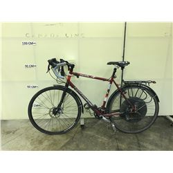 RED ROCKY MOUNTAIN SHERPA 27 SPEED ELECTRIC ASSIST ROAD BIKE, MISSING BATTERY