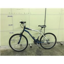 WHITE AND BLUE INFINITY MERCURY 21 SPEED FRONT SUSPENSION MOUNTAIN BIKE
