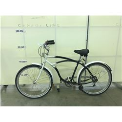 BLACK AND WHITE INFINITY 6 SPEED CRUISER BIKE