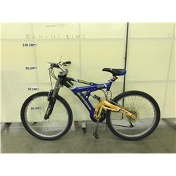 BLUE AND YELLOW SUPERCYCLE HOOLIGAN 21 SPEED FULL SUSPENSION MOUNTAIN BIKE