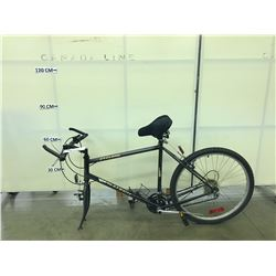 BLACK DYNATECH 18 SPEED MOUNTAIN BIKE, MISSING FRONT WHEEL