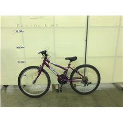 PURPLE RALEIGH 15 SPEED KIDS MOUNTAIN BIKE