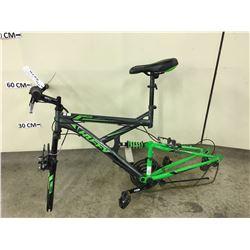 GREY AND GREEN HUFFY ROCK CREEK MOUNTAIN BIKE FRAME, NO WHEELS