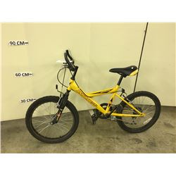 YELLOW INFINITY KIDS FRONT SUSPENSION MOUNTAIN BIKE