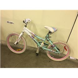 WHITE AND GREEN ROSS FLORA KIDS BIKE, MISSING HANDLE BARS