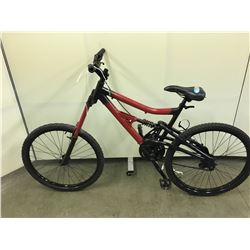 RED AND BLACK NO NAME FULL SUSPENSION MOUNTAIN BIKE