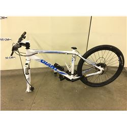 WHITE GIANT REVEL FRONT SUSPENSION MOUNTAIN BIKE FRONT AND REAR DISK BRAKES, MISSING SEAT AND FRONT