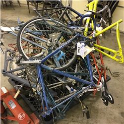 PALLET OF ASSORTED BIKES, PARTS AND WHEELS