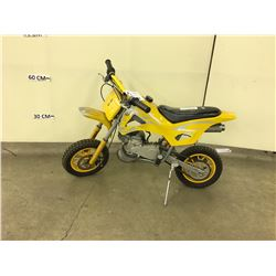 YELLOW KIDS GAS MOTOR BIKE, CONDITION UNKNOWN