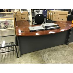 CHERRY AND GREY BOWFRONT RIGHT EXECUTIVE DESK