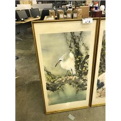 ORIGINAL WATERCOLOUR PAINTING OF A BIRD IN A TREE, SIGNED LOWER LEFT, FRAMED, 26'' X 48''