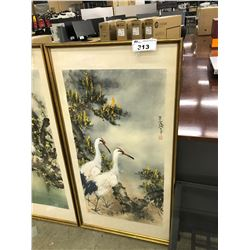 ORIGINAL WATERCOLOUR PAINTING OF TWO BIRDS IN A TREE, FRAMED, 26'' X 48''