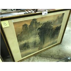 ORIGINAL WATERCOLOUR PAINTING OF A LAKE LANDSCAPE, SIGNED LOWER RIGHT, FRAMED, 50'' X 37'''