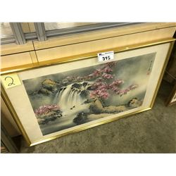 ORIGINAL WATERCOLOUR PAINTING OF A WATERFALL SCENE, SIGNED LOWER RIGHT, 44'' X 26''