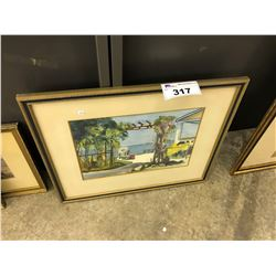 ORIGINAL WATERCOLOUR PAINTING OF A BEACH HOUSE SCENE, SIGNED LOWER RIGHT, FRAMED, 21'' X 25''